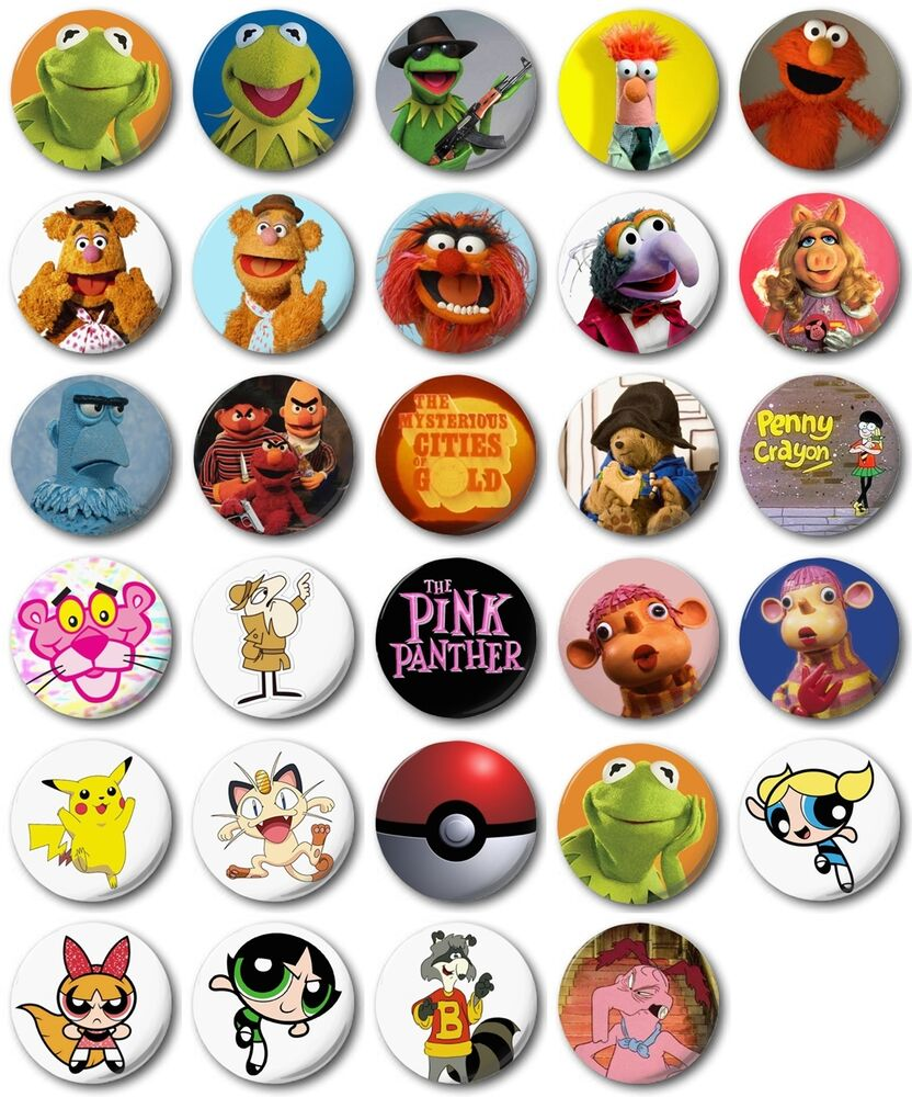 kids retro tv various 25mm 1 button badge m to r. Black Bedroom Furniture Sets. Home Design Ideas