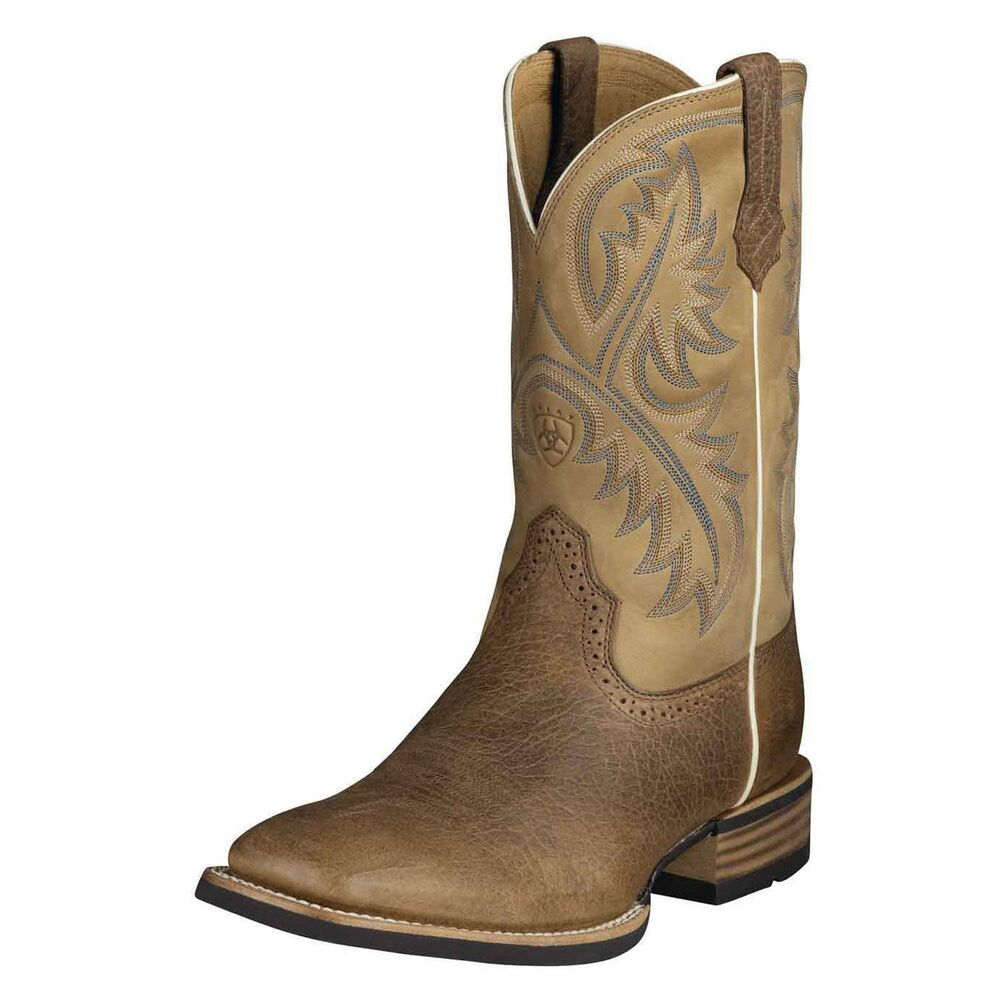 ariat mens quickdraw square toe cowboy boot brown bark