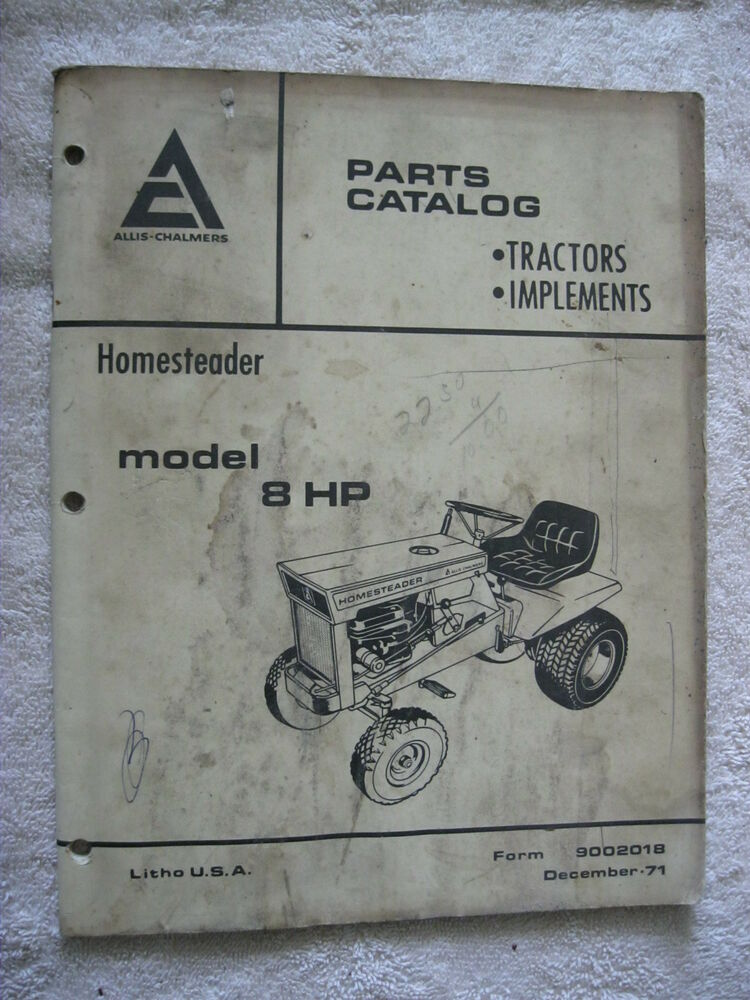 Tractor Parts Catalog : Ac allis chalmers homesteader hp lawn tractor mower