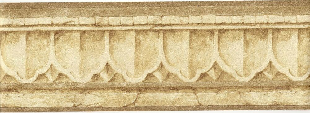 Architectural wallpaper border crown molding wall border tan background ebay - Crown molding wallpaper ...