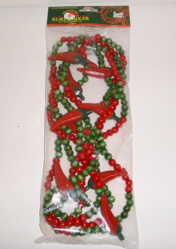 Mexican Fiesta Party Christmas Kitchen Decor 9 39 Wood Bead Chili Pepper Garland Ebay