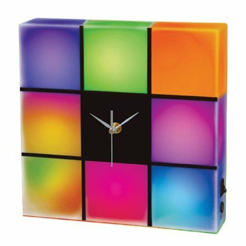 Led Light Color Changing Panel Analog Cube Wall Clock Ebay