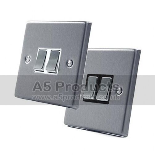 Amp way double light switch gang in brushed satin
