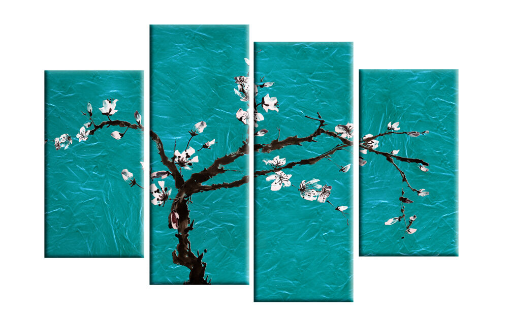Turquoise Teal Wall Decor : Large teal turquoise floral blossom painting wall art