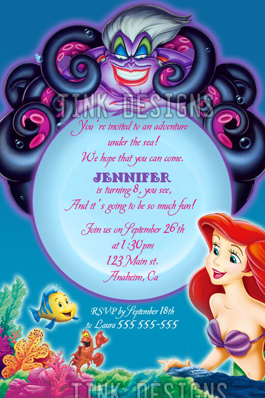 Little Mermaid Party Invitation Wording with amazing invitation sample