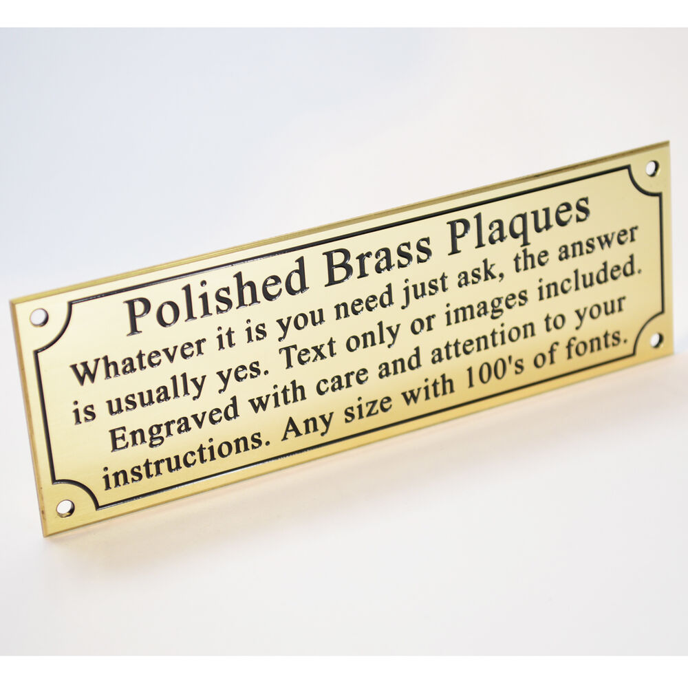 engraved solid polished brass 6 x2 plaque plate sign. Black Bedroom Furniture Sets. Home Design Ideas