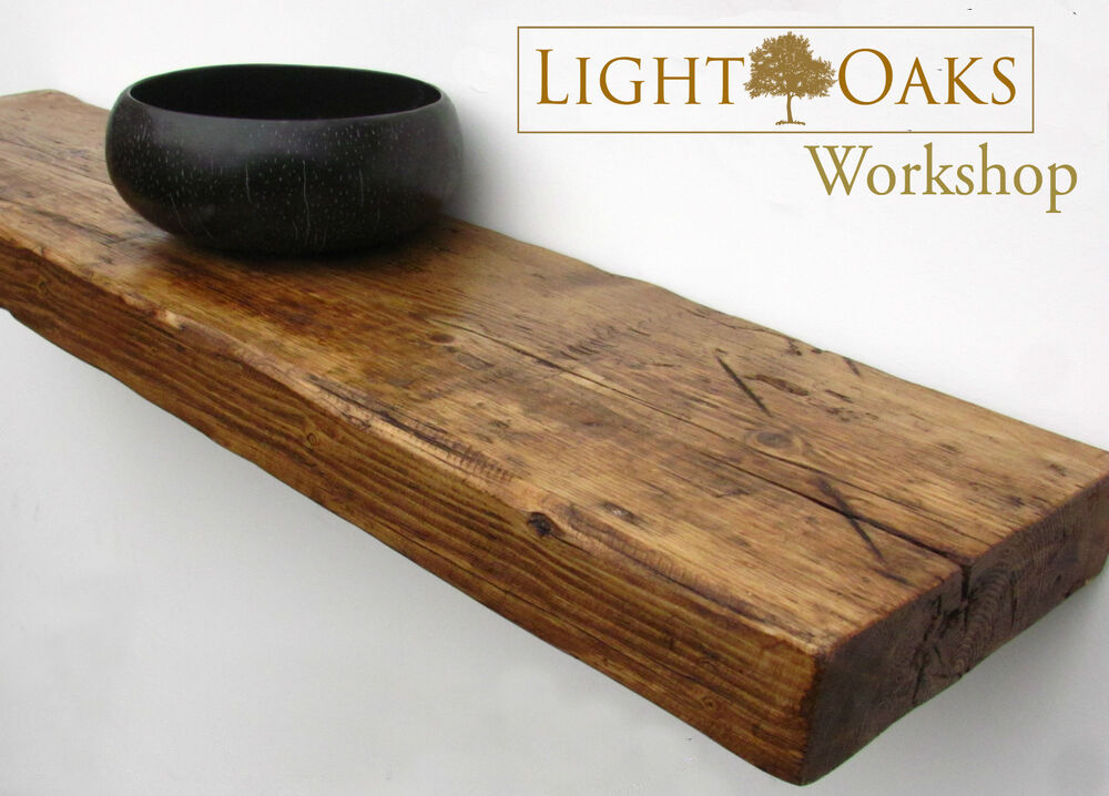 Floating Wood Shelves ~ Reclaimed chunky floating shelf shelves wooden industrial