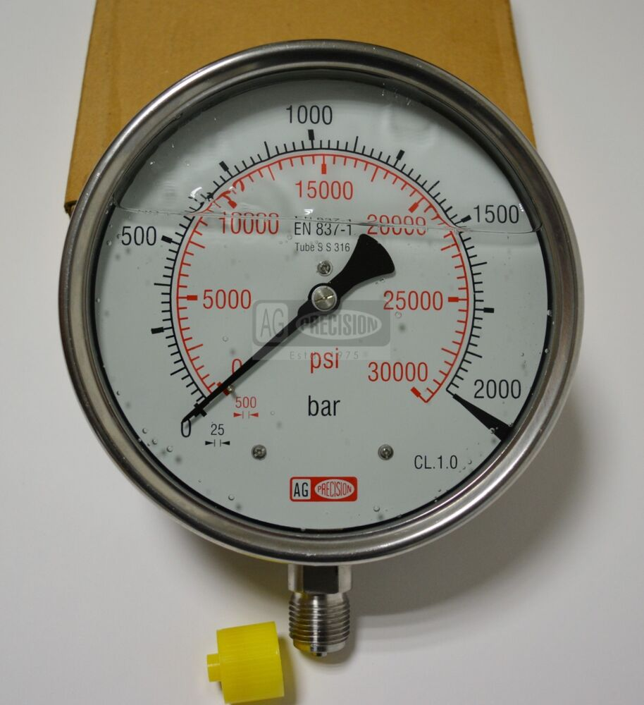 High Pressure Meter : High pressure gauge dual scale bar psi
