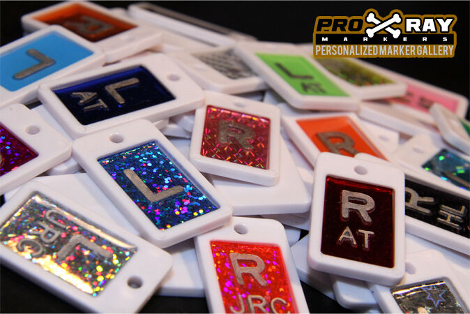 CHEVY X-RAY MARKERS this marker set is a plastic CHEVY case with RED, BLUE, PINK, AND PURPLE glitter inlays for a one of a kind masterpiece. CHEVY XRAY MARKERS will fit in most wall and table buckies with RADGRIPS attached.
