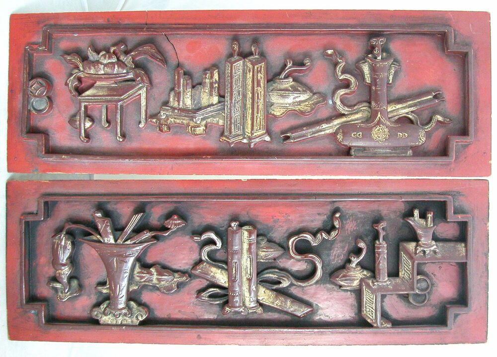 Antique chinese carved gold gilt wood panels with