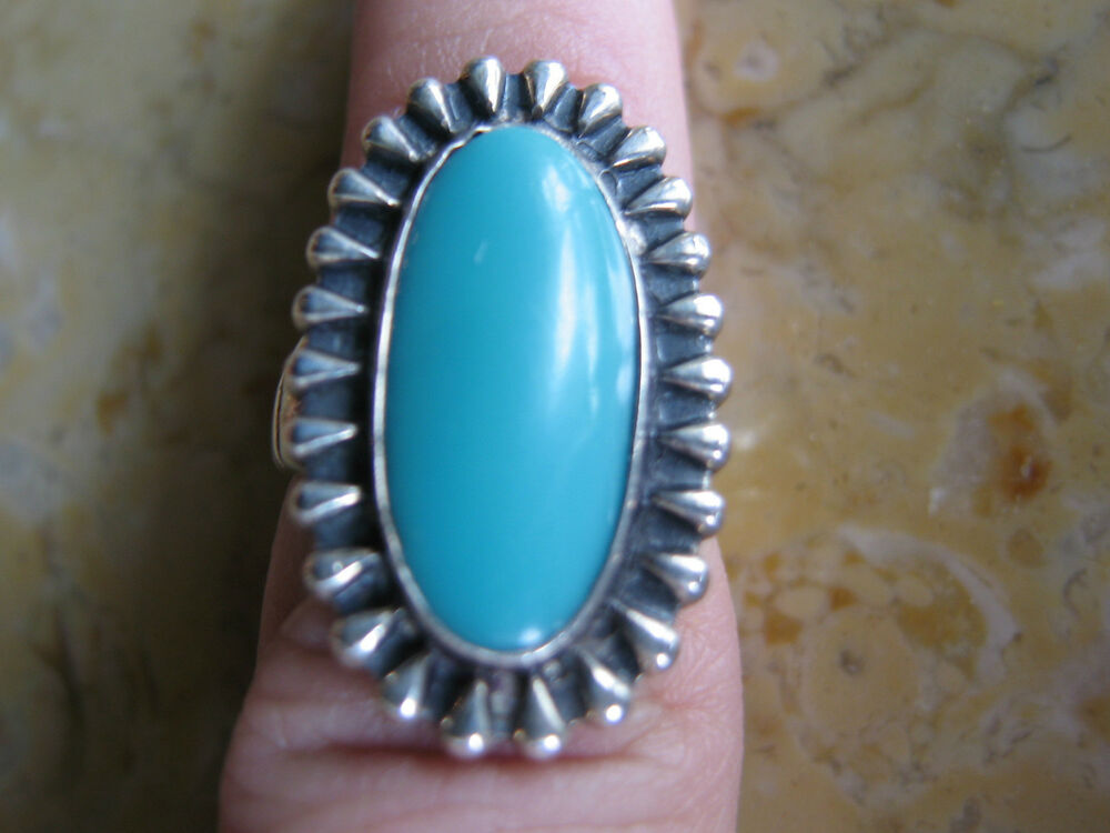 Vintage southwestern sterling silver turquoise ring w for Southwestern silver turquoise jewelry