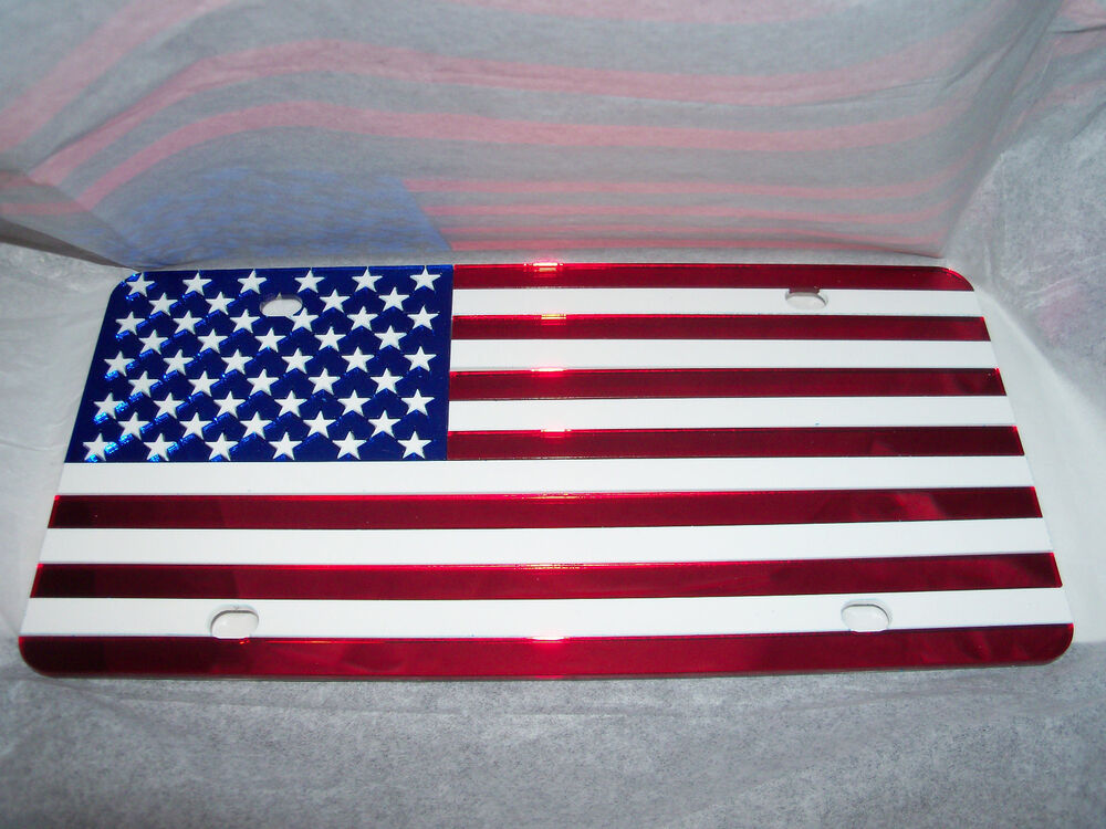 American Flag License Plate Color S Red White Blue Brand
