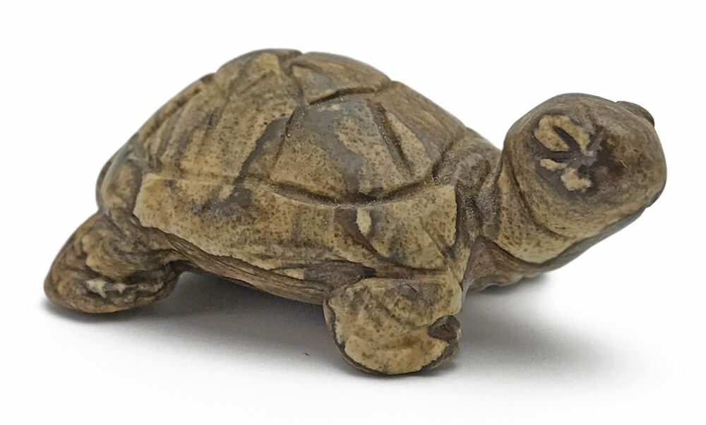 Hand carved gemstone turtle picture jasper collectible