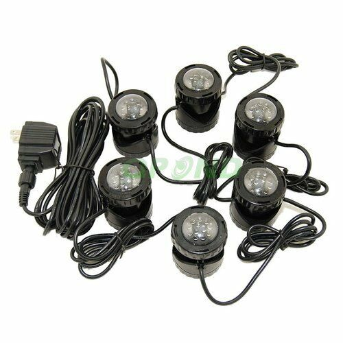 Submersible 6 led pond light set for underwater fountain for Koi pond underwater lighting