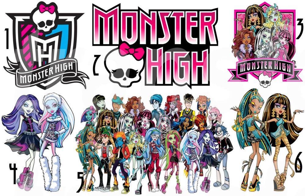Monster high iron on t shirt fabric transfer skull logo for Stickers monster high pour chambre