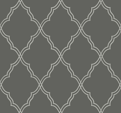 Candice Olson Wallpaper Charcoal Grey Lattice Trellis