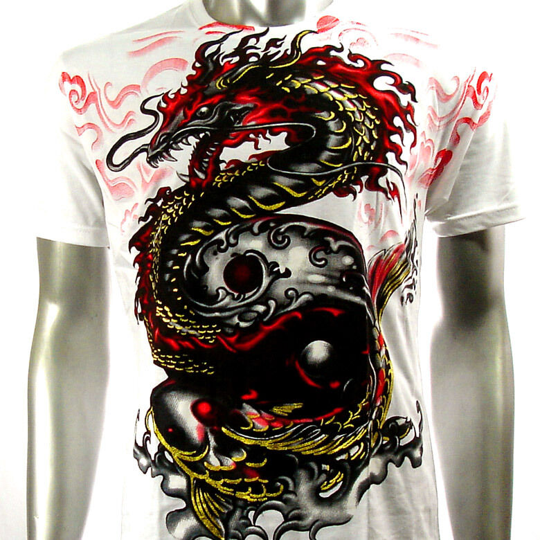Artful couture t shirt sz m l xl xxl dragon vs koi fish for Black dragon koi