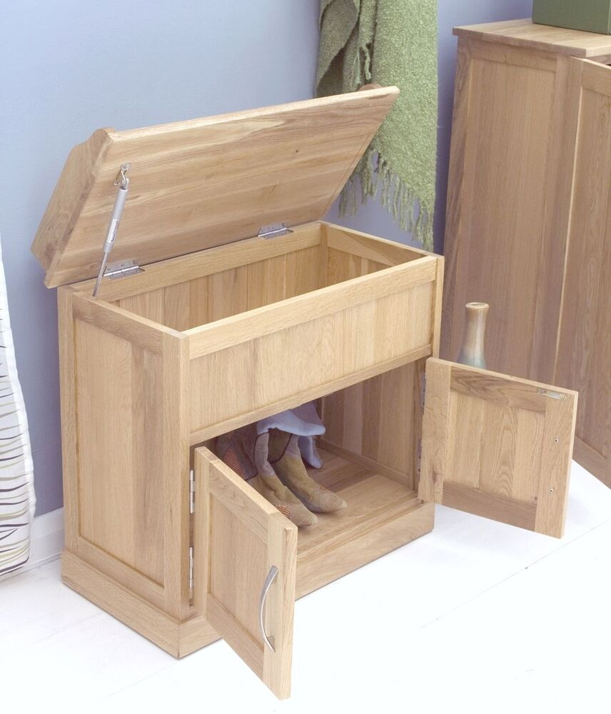 Mobel Solid Oak Furniture Shoe Storage Seating Hallway Bench And Felt Pads Ebay