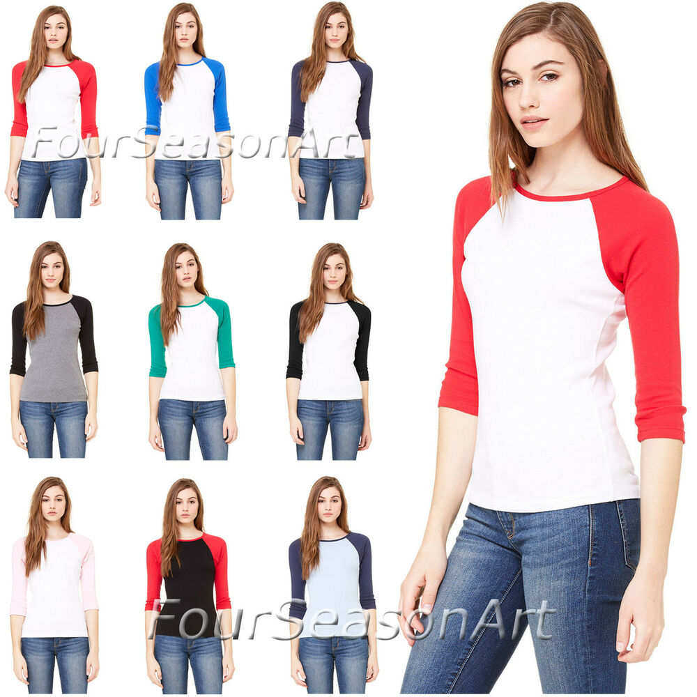 Bella Ladies Baseball Raglan 3/4 Sleeve T-Shirt Womens TEE ...