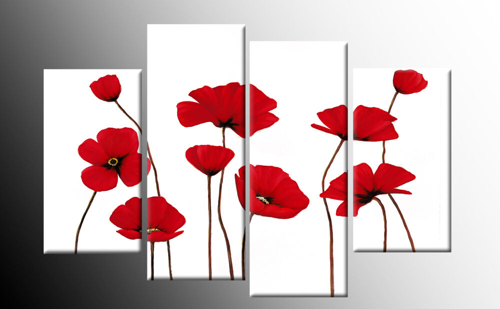 Wall Art Split Canvas : Large red poppies on white floral canvas picture split