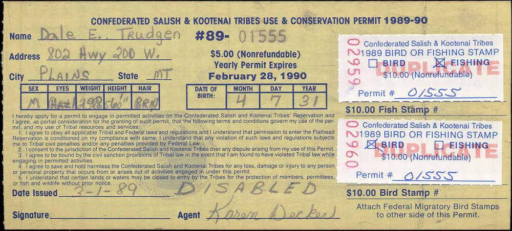Flathead indian reservation fh6 on disabled license used for Disabled fishing license