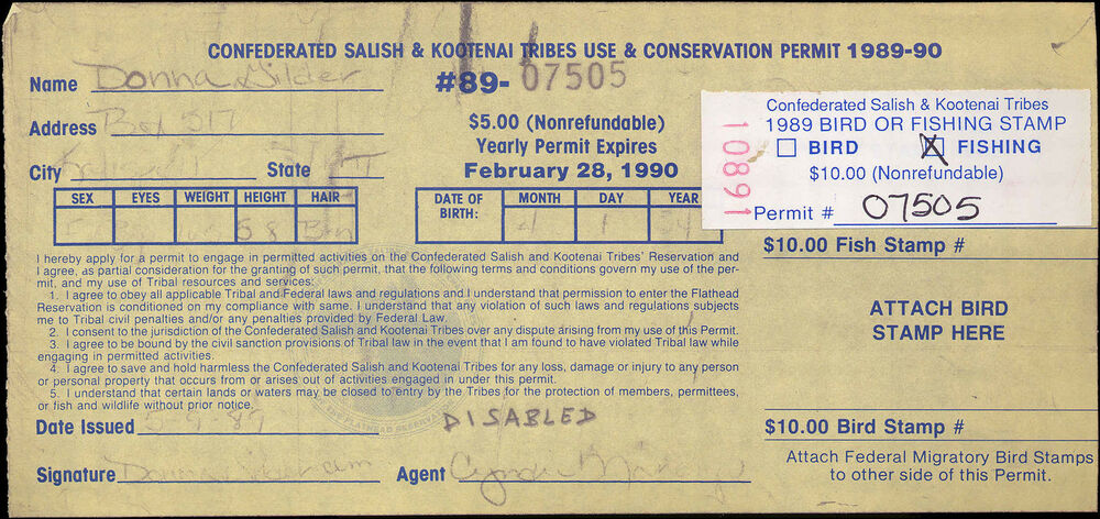 Flathead indian reservation fh5 on disabled license used for Age requirement for fishing license