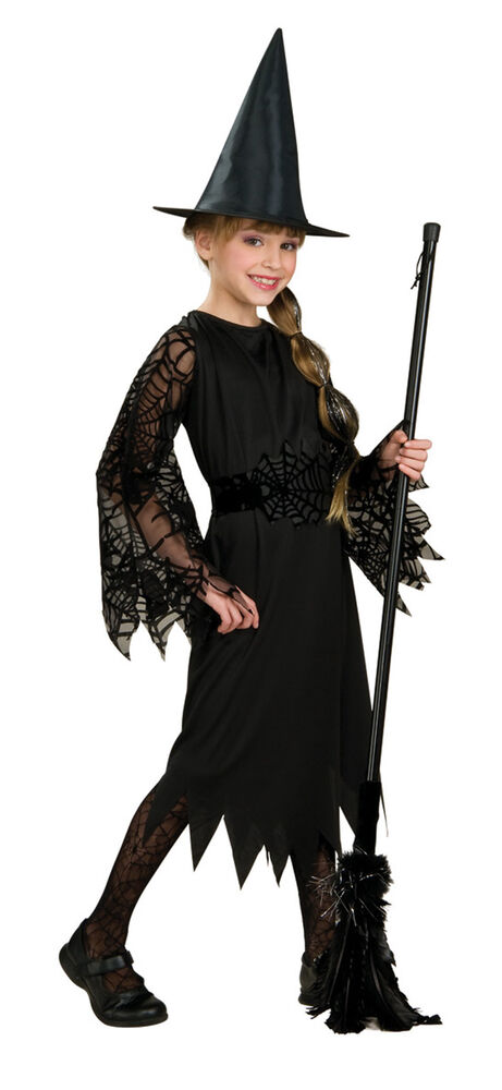 Halloween Child Black Witch Costume Large 12 14 Fits 8 10