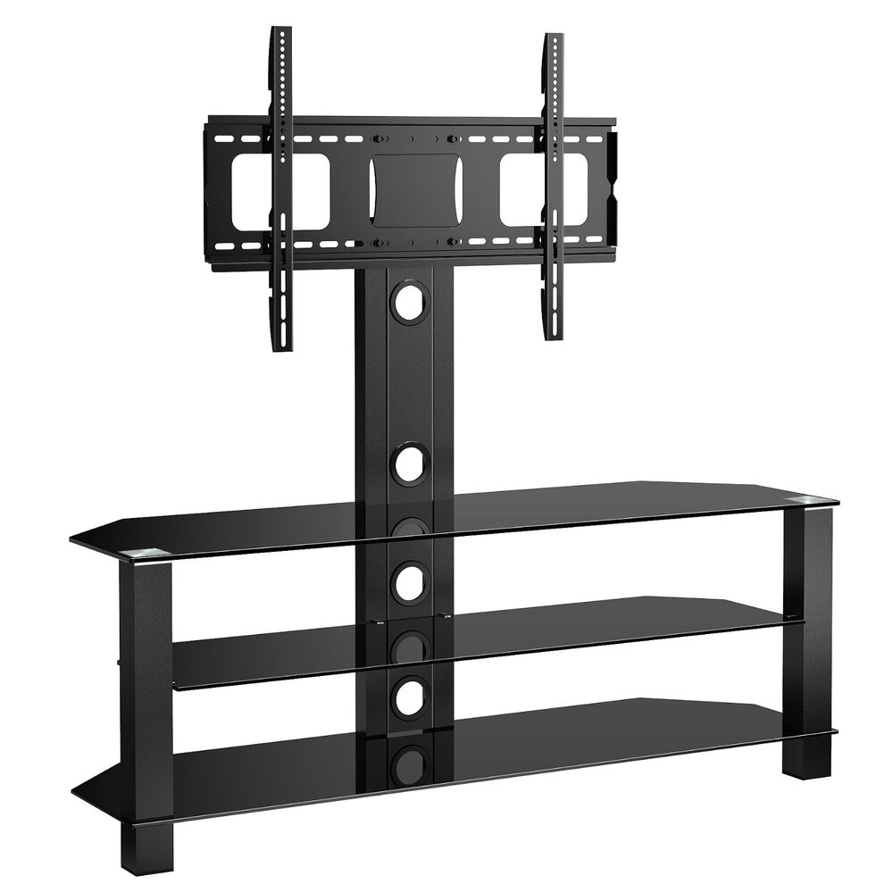 Cantilever Glass TV Stand With Swivel Bracket For 32 To 55