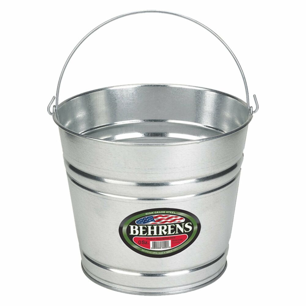12 Quart 3 Gallon Hot Dipped Steel Pail Bucket Behrens