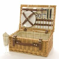 2 Person Beige Check Wicker Picnic Hamper Brand New