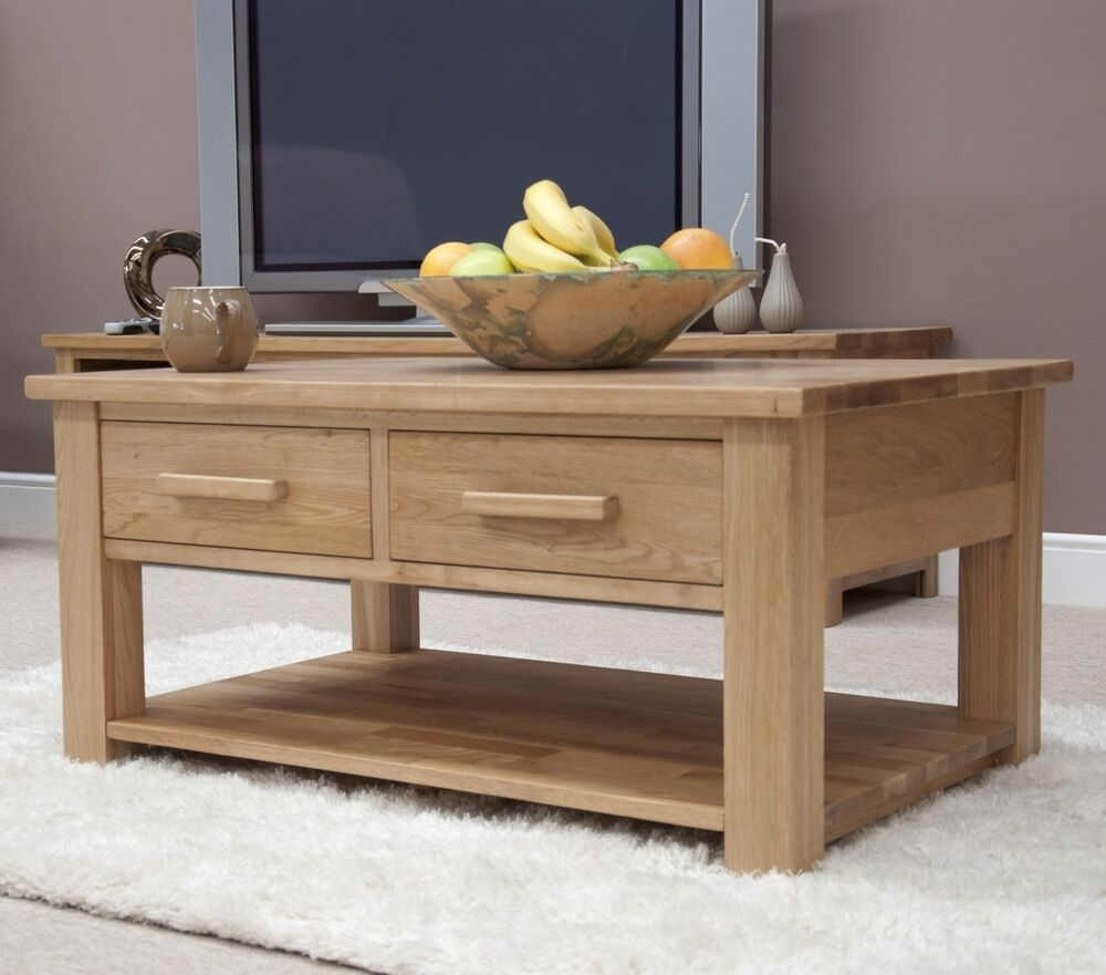 Windsor Solid Oak Furniture Storage Coffee Table With Drawers With Felt Pads Ebay