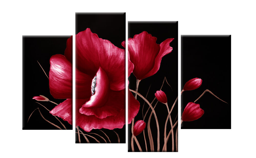 Large Red And Black Floral Flower Canvas Picture Wall Art
