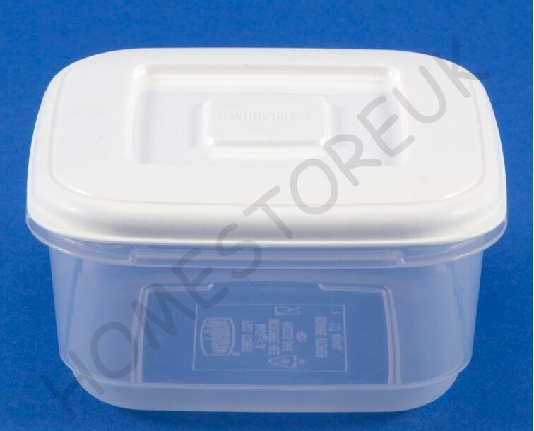 Whitefurze Square Plastic Food Tub Storer Storage
