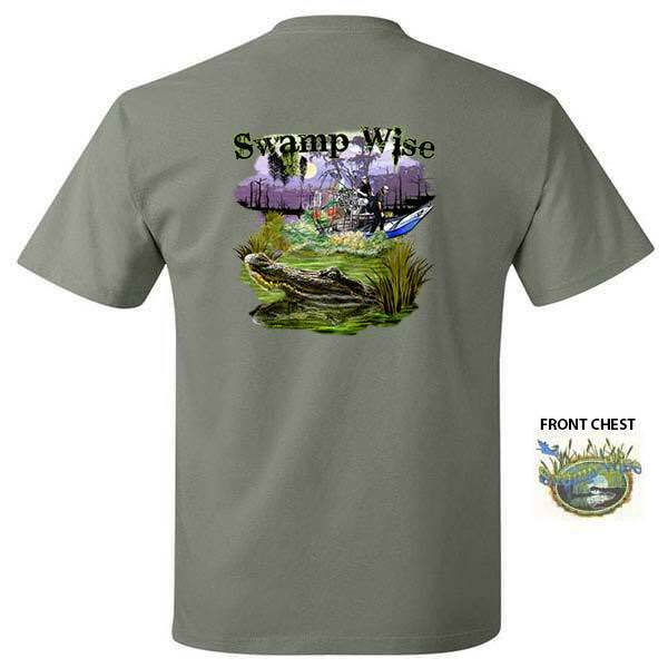 Swamp Wise Alligator And Air Boat Louisiana Swamps Gator T