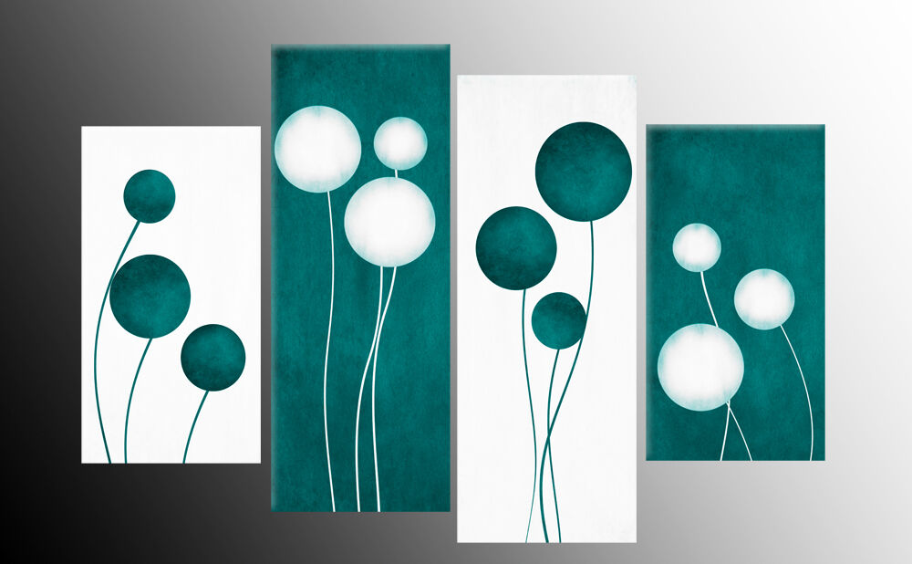 Large Teal And White Abstract Circles Canvas Pictures Split Multi Panels 40 Quot X27 Quot Ebay