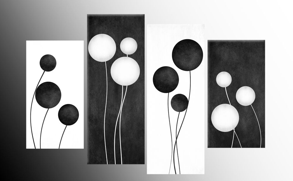 Large black and white abstract circles canvas pictures for Modern black and white wall art