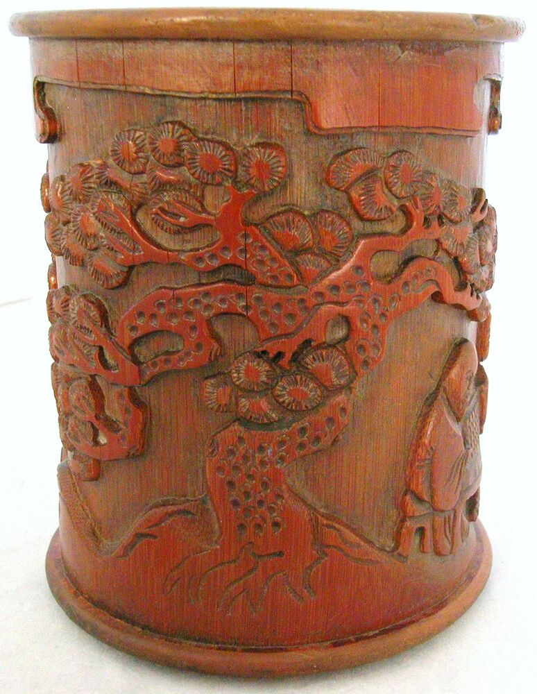 Antique chinese carved giant bamboo brush pot w