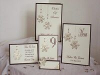 Handmade Personalised WINTER WEDDING invitations/stationary/place cards etc....