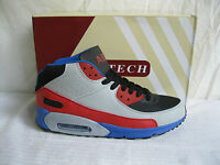 MENS RED GREY BLACK BLUE HIGH TOP AIR TECH LACE UP TRAINERS- HYPE