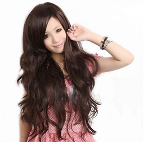 Long Brunette Wig With Bangs 47