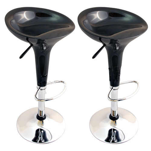 2 X Black Bombo Breakfast Bar Stools Barstools Kitchen