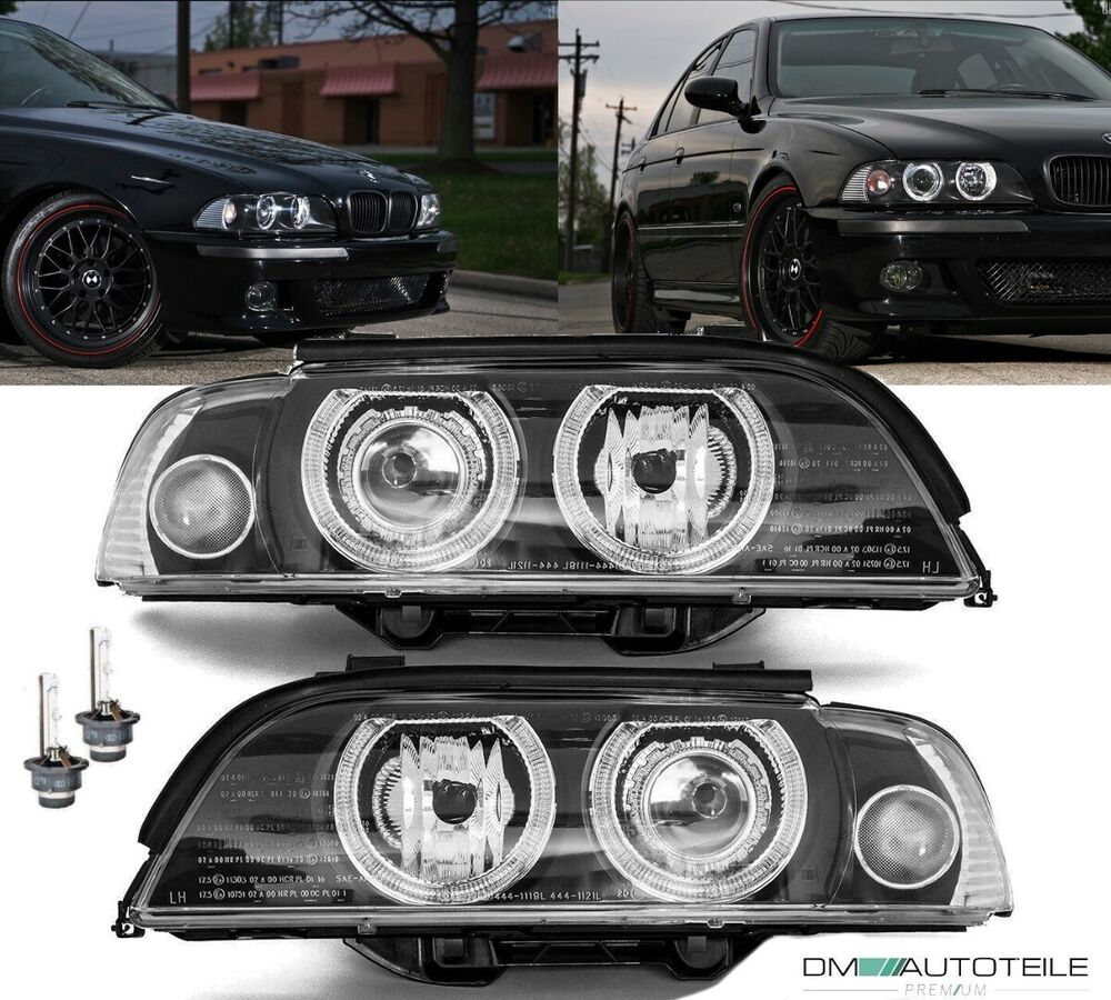 bmw e39 angel eyes xenon scheinwerfer set black d2s. Black Bedroom Furniture Sets. Home Design Ideas