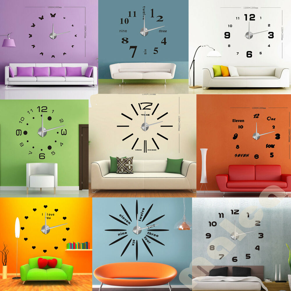 New Modern Frameless Large Wall Clock Diy Your Own Style