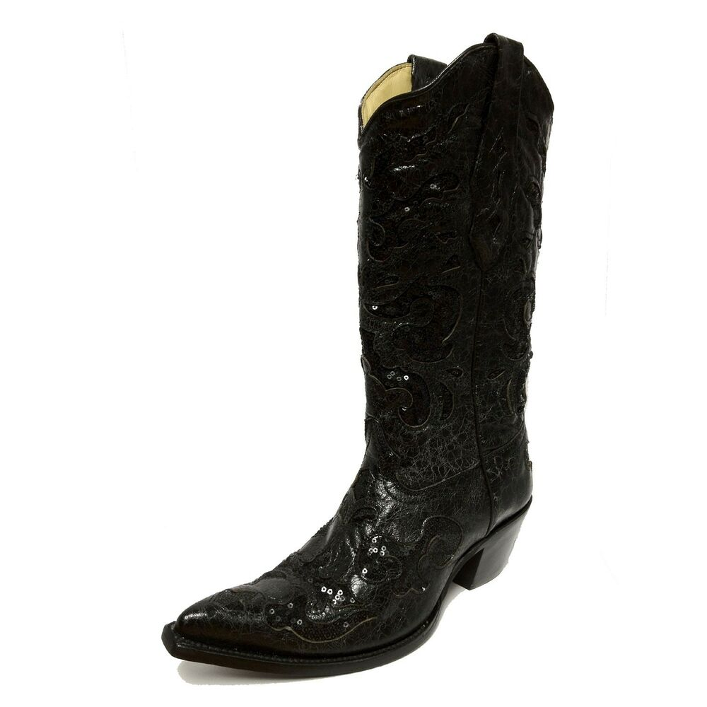 Corral Ladies Black Goat Sequin Inlay Leather Cowgirl
