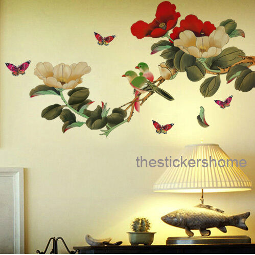 Peony flower tree butterfly wall sticker reusable art for Butterfly wall mural