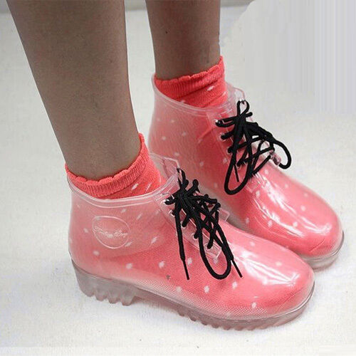 Womens Shoes Clear Rain Boots Wedge Med Heels Rubber Ankle