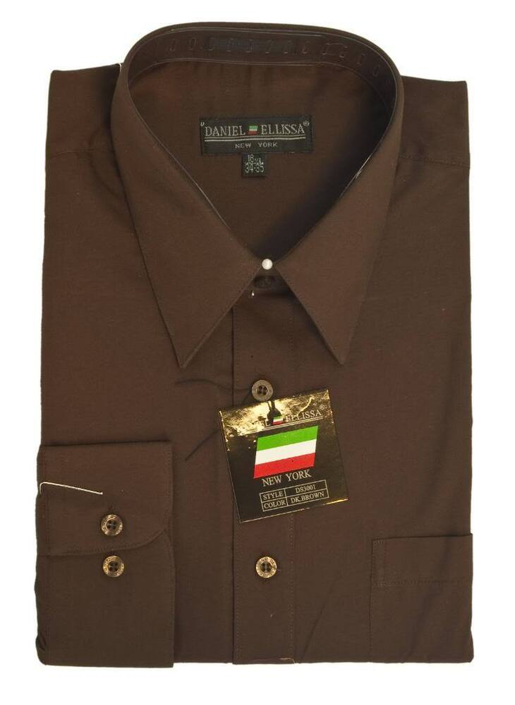 New daniel ellissa mens fashion dress shirt dark brown for Black brown mens shirts