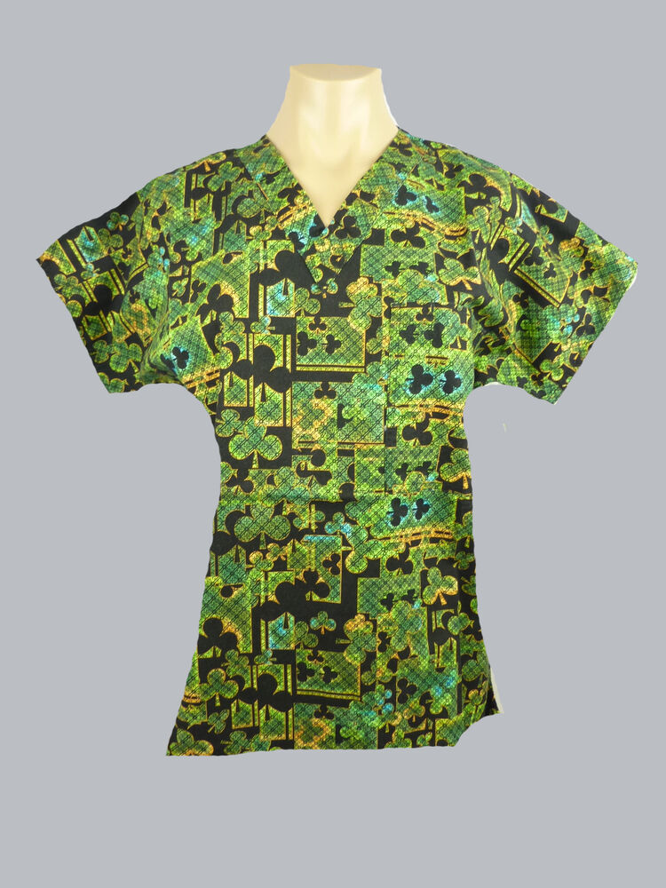 Medical Scrubs Unisex Printed Top Uniform Nurse Vet