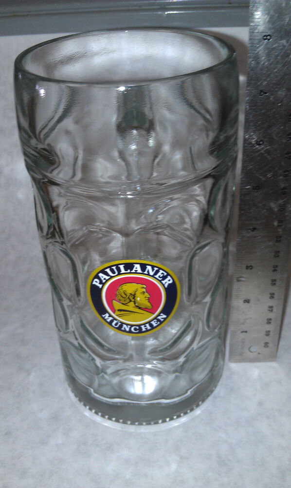 paulaner munchen 1 liter glass mottled beer bier mug huge very rare ebay. Black Bedroom Furniture Sets. Home Design Ideas