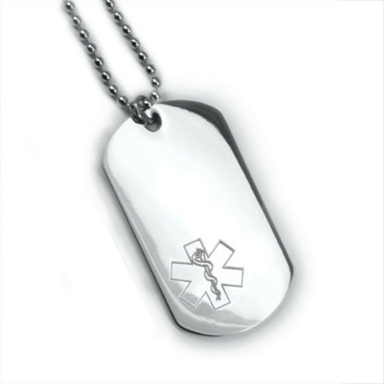 Medic Alert Necklace: Medical Alert ID Dog Tag And Necklaces. Free Wallet Card